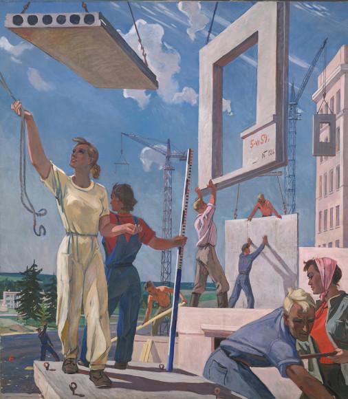 Александр Дейнека. Эскиз мозаики «Мирные стройки», 1959–1960