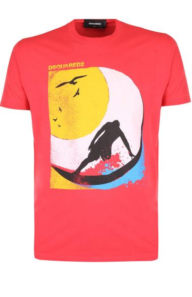 DSQUARED2 Хлопковая футболка с принтом