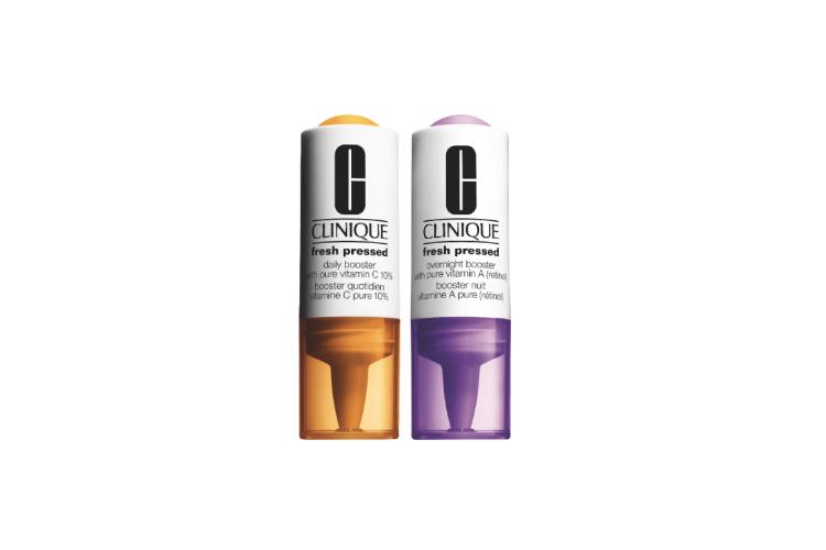Система ухода за кожей Fresh Pressed Clinical, Clinique включает две эмульсии— с витамином C (10%) для дневного ухода и с витамином A для ночного ухода. Они работают вместе против мимических и возрастных морщин, выравнивая тон лица и возвращая коже естественное сияние