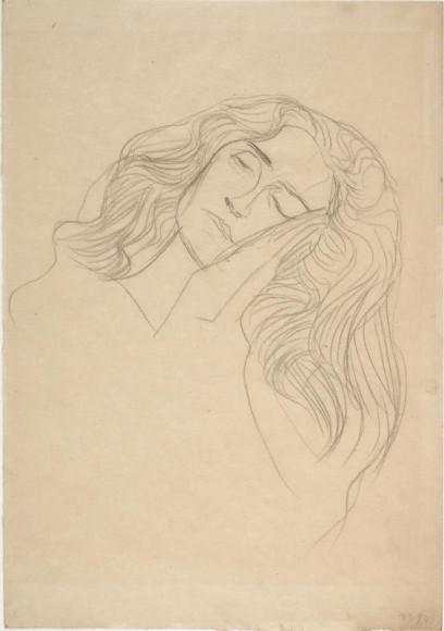 Густав Климт. «Женское лицо, щекой прижатое к рукам», 1903