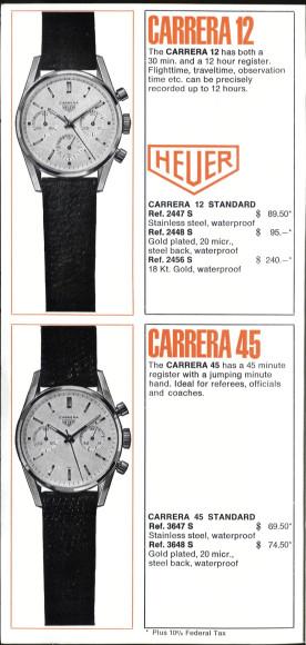 Страница каталога Heuer, 1964 год