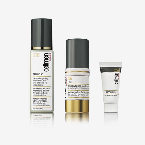 Набор для ухода за кожей лица из клеточного оздоровительного тоника после бритья, скраб-геля и клеточного интенсивного крема СELLMEN. Цена по запросу
