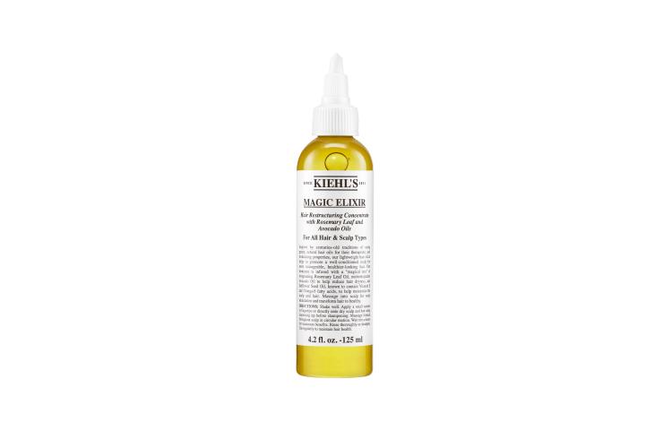 Питательный концентрат для волос и кожи головы Magic Elixir, Kiehl's содержит масла розмарина, авокадо, алоэ и сафлора, которые интенсивно питают, увлажняют и восстанавливают кожу головы и укрепляют луковицы волос, помогая активному росту