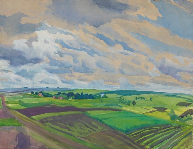 Зинаида Серебрякова. «Пейзаж. Село Нескучное Курской губернии», 1916
