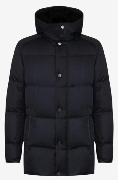 Пуховая куртка из высокотехнологичной ткани с отделкой из кожи