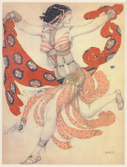 Лев Бакст. Эскиз костюма Клеопатры для Иды Рубинштейн к балету «Клеопатра»