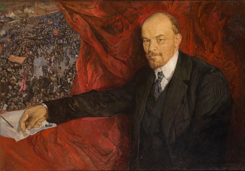 Исаак Бродский. «В.И.Ленин и манифестация», 1919