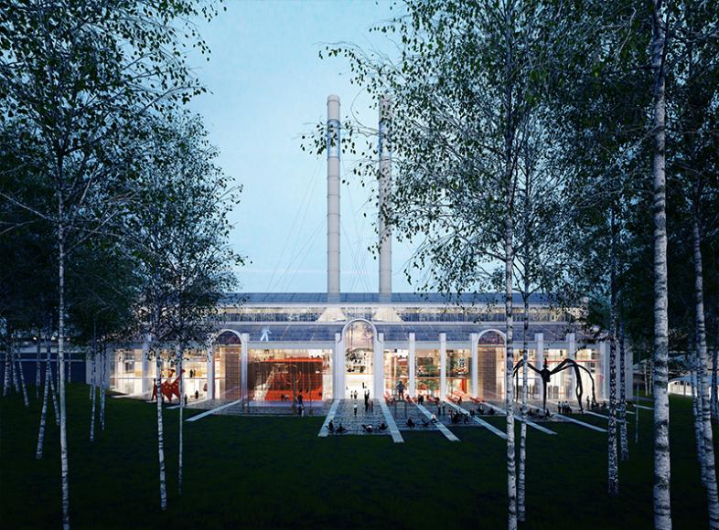 Эскиз внешнего вида ГЭС-2 и прилегающей березовой рощи со стороны Патриаршего моста (проект Renzo Piano Building Workshop)