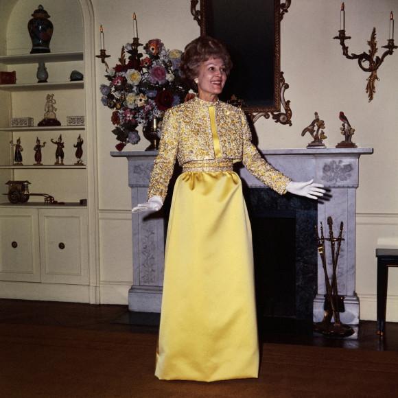Пэт Никсон в платье Karen Stark for Harvey Berin, инаугурационный бал, 1969 год