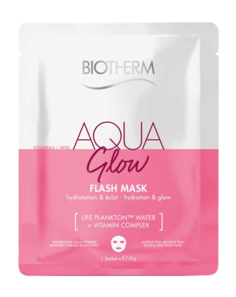 Тканевая маска для сияния кожи лица Aqua Pure Flash Mask Glow, Biotherm глубоко увлажняет кожу и придает ей сияние благодаря формуле, включающей фирменный компонент бренда Life Plankton и витаминный комплекс
