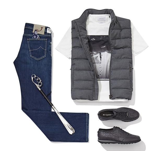 Джинсы Jacob Cohen, рожок для обуви Pasotti, футболка Limitato, жилет Moorer, кроссовки BluBarrett