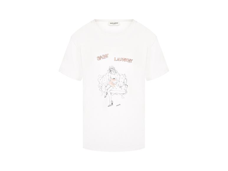 Женская футболка Saint Laurent, 21 700 руб. с учетом скидки (ЦУМ)