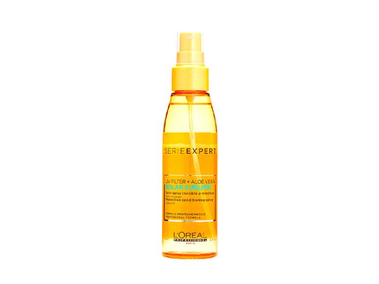 Солнцезащитный спрей для волос Solar Sublime,  L'Oreal Professionnel. Покрывает волосы легкой невидимой пленкой, сохраняющей их блеск и силу и предотвращающей иссушение волос. В основе лежит формула, обогащенная УФ-фильтрами, экстрактом алоэ вера и витамином Е.