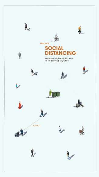 «Социальное дистанцирование. Соблюдайте дистанцию 6 футов (1,8 м) каждый раз, когда находитесь в публичном месте»