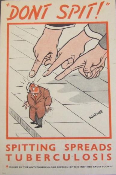 «Не плюйся! Плевки распространяют туберкулез». Плакат Ирландского Красного Креста