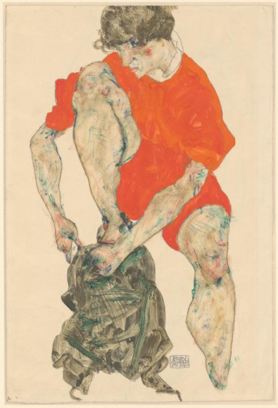 Эгон Шиле. «Натурщица в красном», 1914