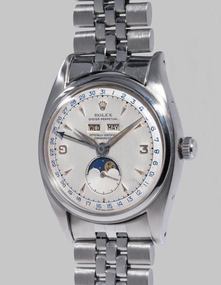 Rolex Ref. 6062 Чрезвычайно редкие часы Rolex из нержавеющей стали c двухцветным циферблатом, календарем и индикатором фаз Луны. Оценочная стоимость: CHF 600–1200 тыс.