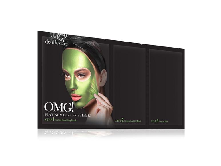 Трехкомпонентный комплекс масок «Увлажнение и себоконтроль» Platinum Green Facial Mask Kit, Double Dare OMG!